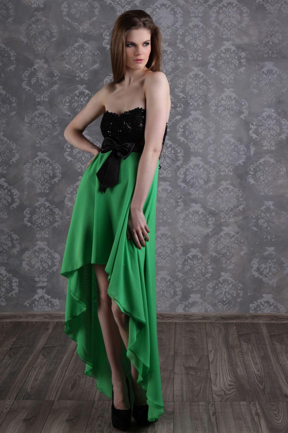 Abendkleid Abschlussballkleid vorne kurz hinten lang in grün und ...
