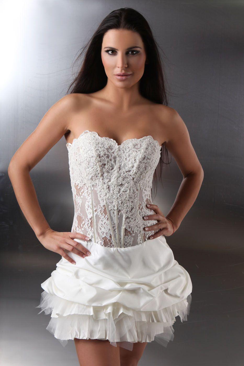 Kurzes Brautkleid sexy & extravagant transparente Korsage ...