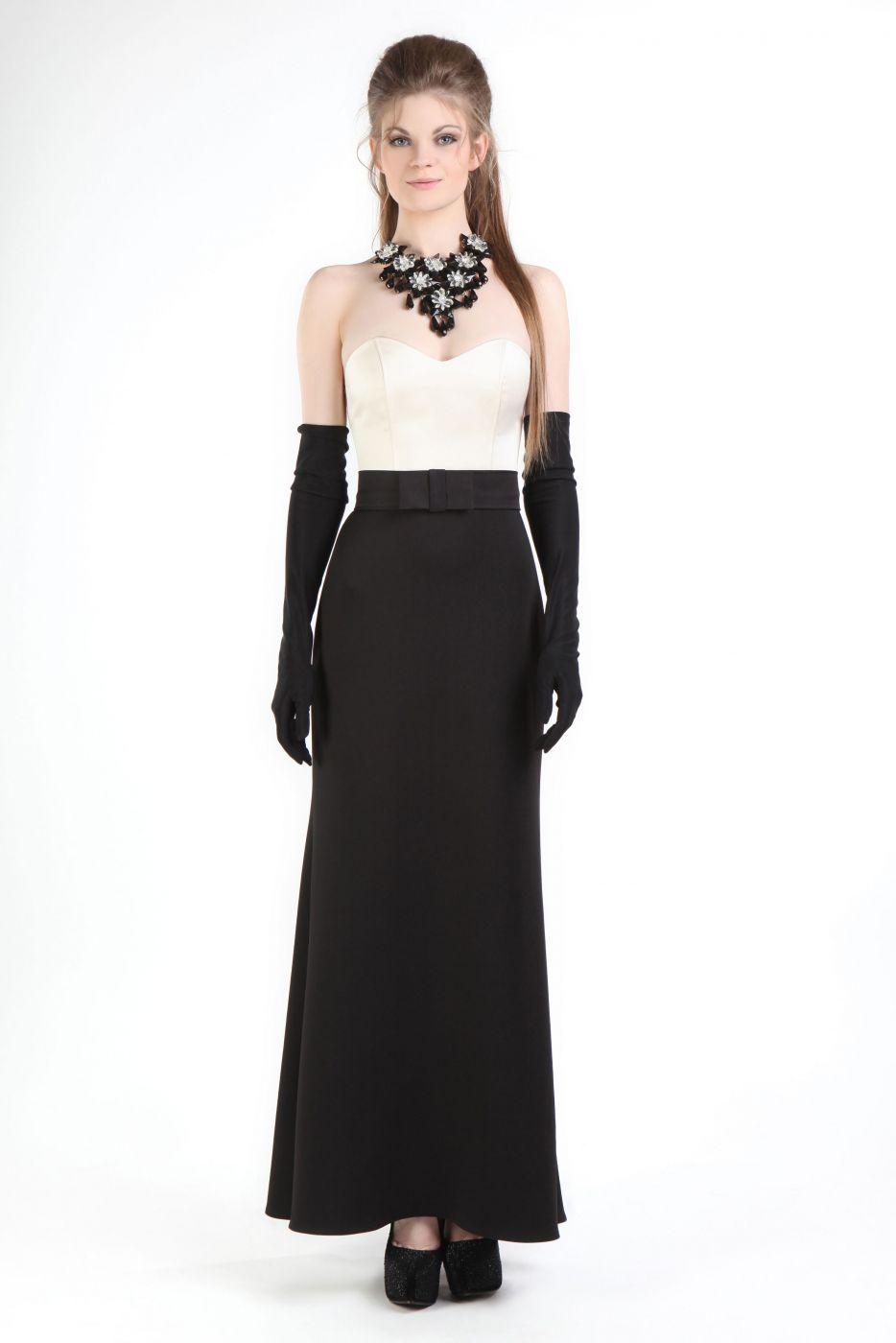 elegantes abendkleid creme schwarz schmal geschnitten