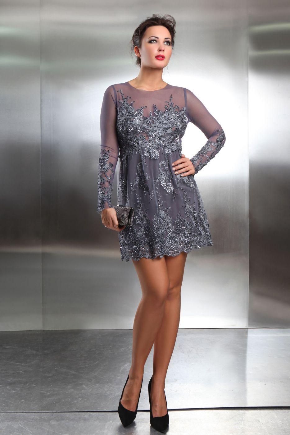 Cocktailkleid zum Standesamt aus Spitze in grau silber - Kleiderfreuden