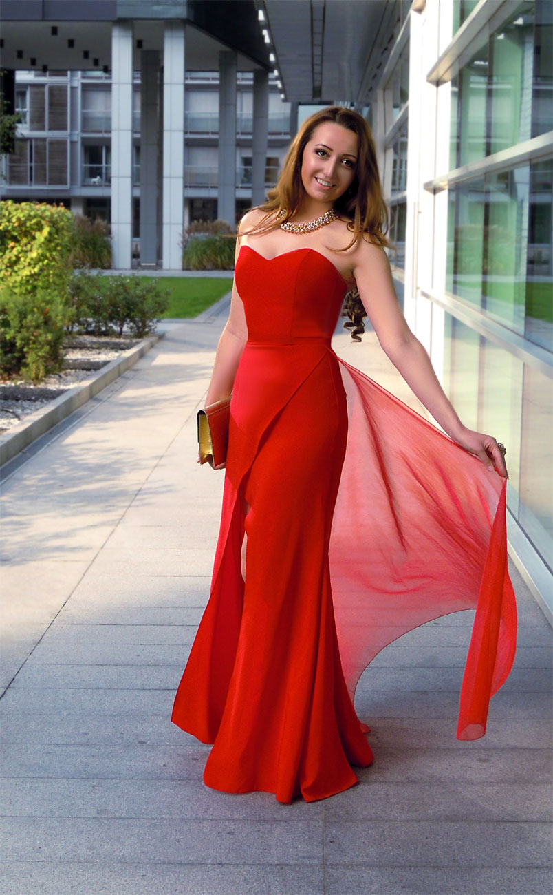 vokuhila kleid für hochzeitsgast rot oder anderen farben