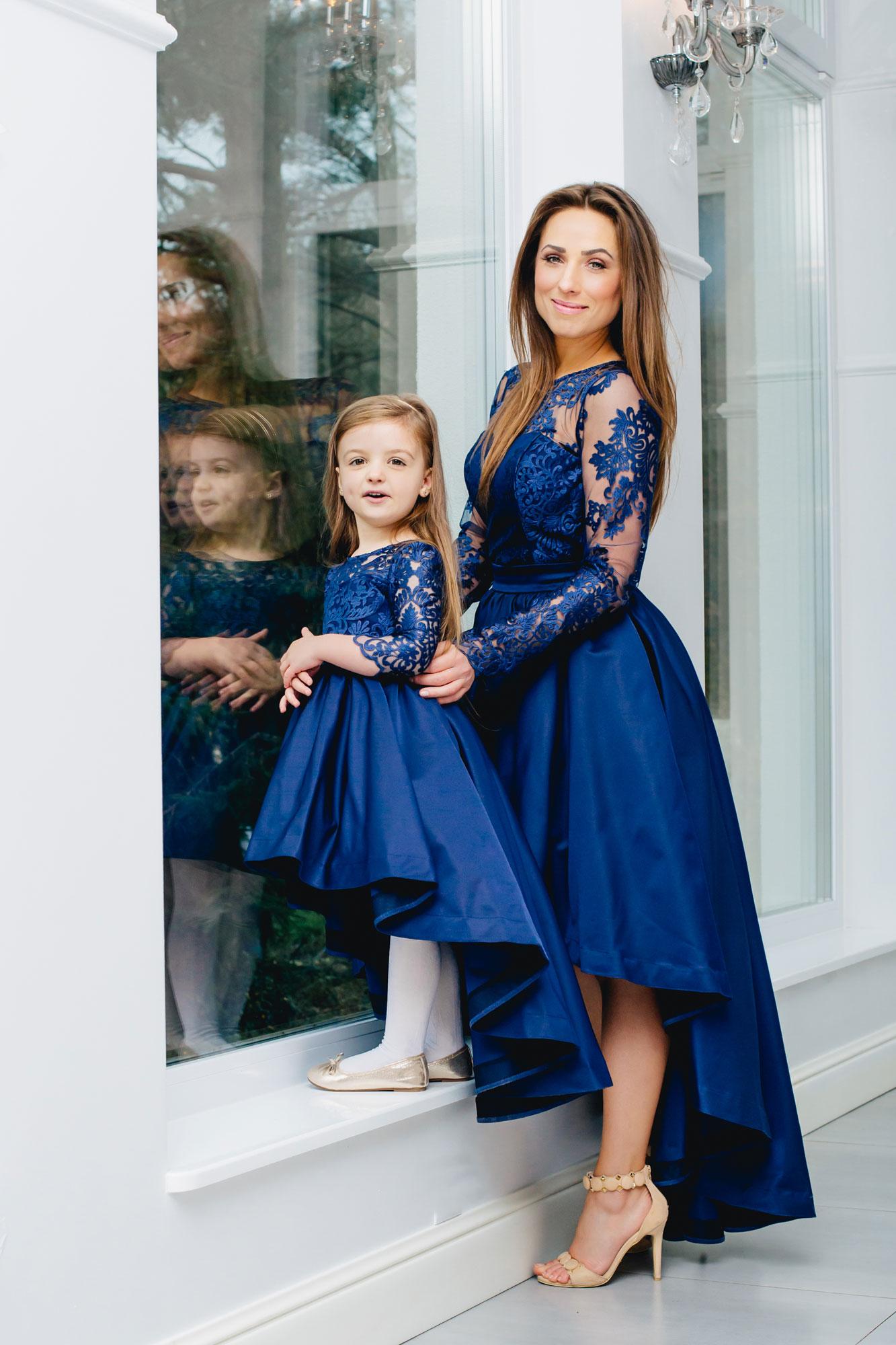 Festliche mutter tochter kleider in blau mit schleppe kleiderfreuden - Kinder festliche kleider ...