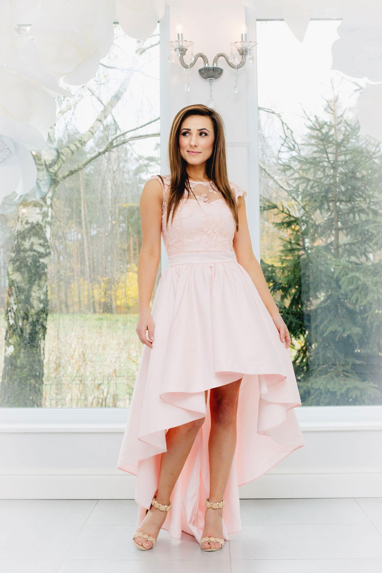 Mutter Tochter Abendkleid in rosa Vokuhila Maßanfertigung ...
