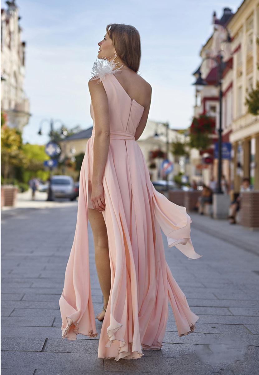 wundervolles langes abendkleid mit beinschlitz rosa apricot
