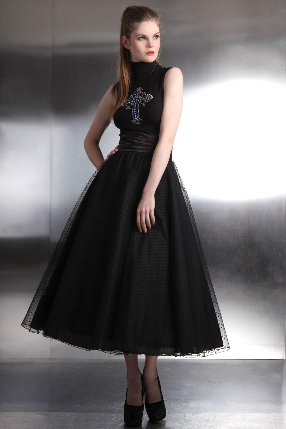 Festlicher rock f r den abend t llrock petticoat wadenlang for Rockabilly kleid lang