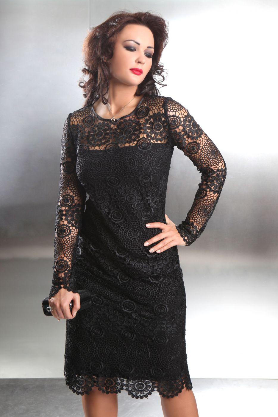 Cocktailkleid in schwarzer Spitze mit langen Ärmeln - Kleiderfreuden
