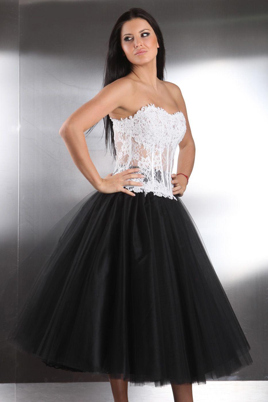 schwarz wei es petticoat hochzeitskleid kleiderfreuden. Black Bedroom Furniture Sets. Home Design Ideas
