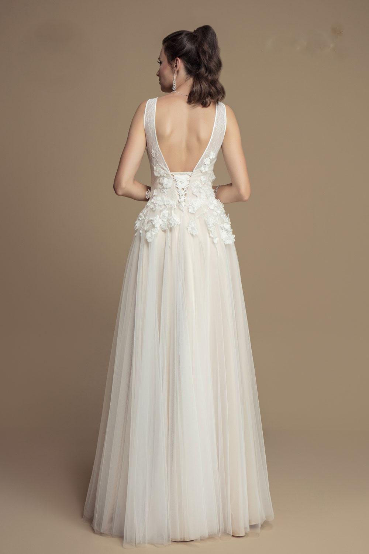 Brautkleid mit 18D Blumen Spitze nach Maß - Kleiderfreuden