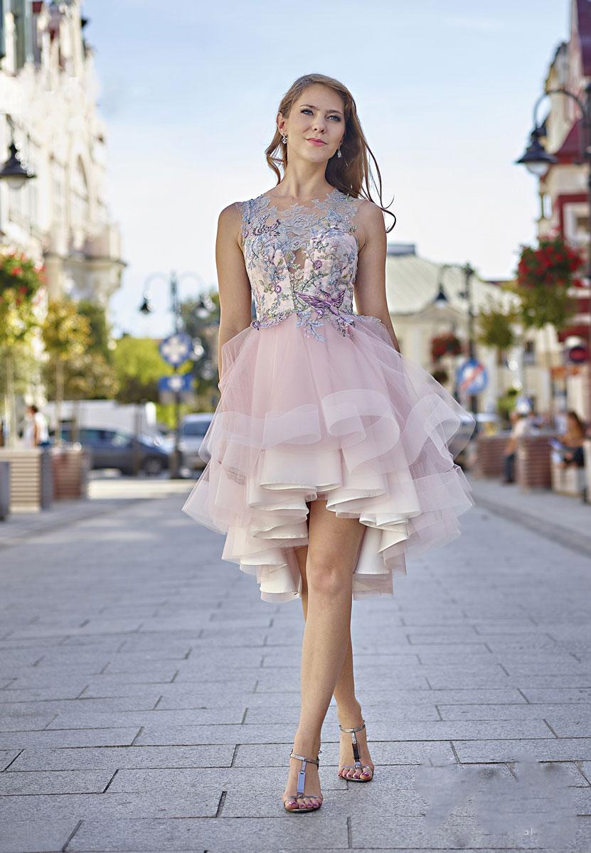 vokuhila cocktailkleid in rosa rückenfrei - kleiderfreuden