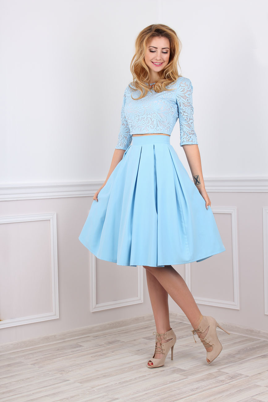 Zweiteiliges Kleid festlich bauchfrei in blau Maßanfertigung