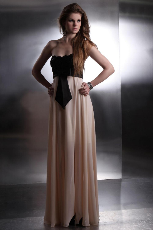 Abendkleid creme schwarz - Kleiderfreuden