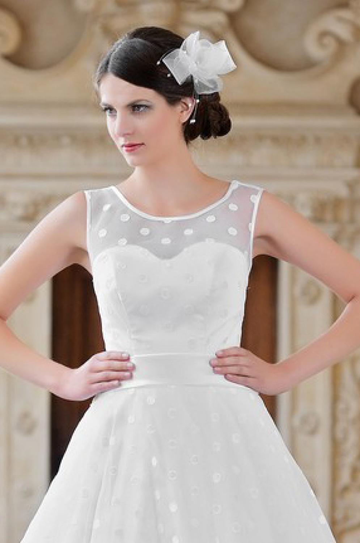 Brautkleid mit Punkten Träger Rockabilly Brautmode - Kleiderfreuden