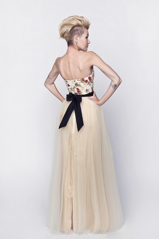 langes standesamtkleid brautkleid mit rosenmuster kleiderfreuden. Black Bedroom Furniture Sets. Home Design Ideas