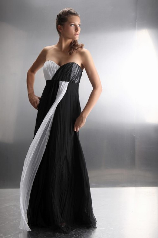 Langes Chiffon Abendkleid Schwarz Weiß maßangefertigt