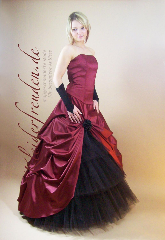 Romantisches Brautkleid rot schwarz günstig - Kleiderfreuden