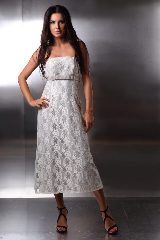 ... » Kurze Hochzeitskleid Standesamt Spitze schulterfrei creme beige