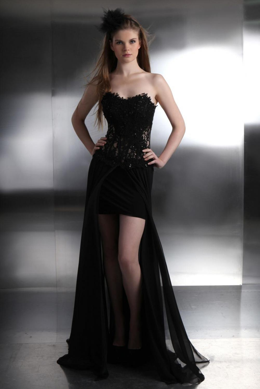 sexy designer abendkleid mit spitzenkorsage und. Black Bedroom Furniture Sets. Home Design Ideas