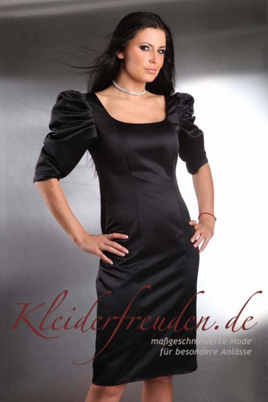 Satin Cocktailkleid Avera schwarz mit Ärmeln und tiefem ...