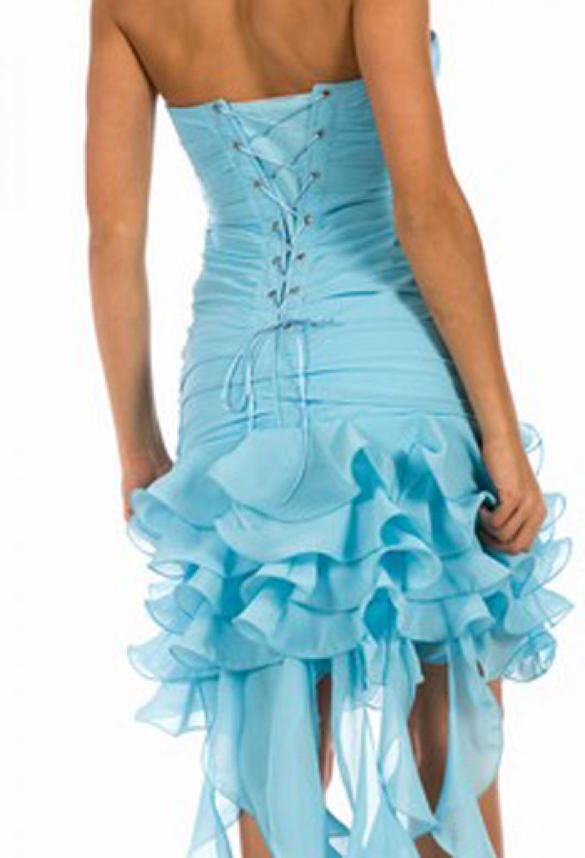 minikleid partykleid abikleid blau t rkis mit schleppe. Black Bedroom Furniture Sets. Home Design Ideas
