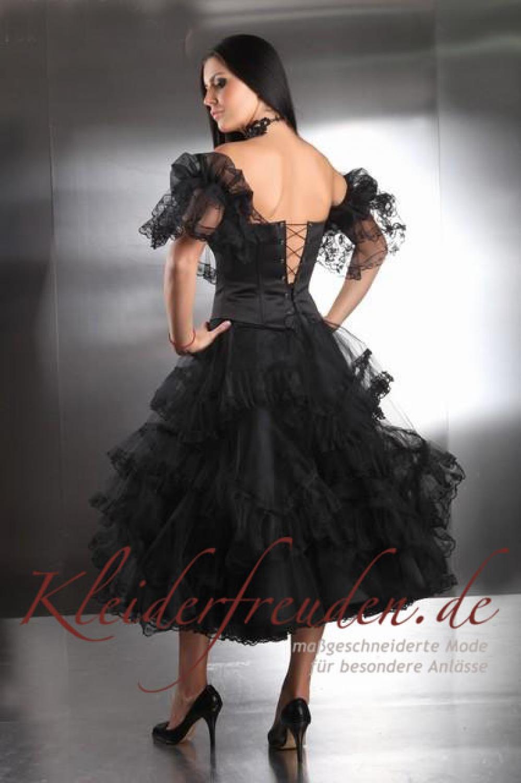 Knielanges Cocktailkleid mit Ärmeln schwarz - Kleiderfreuden