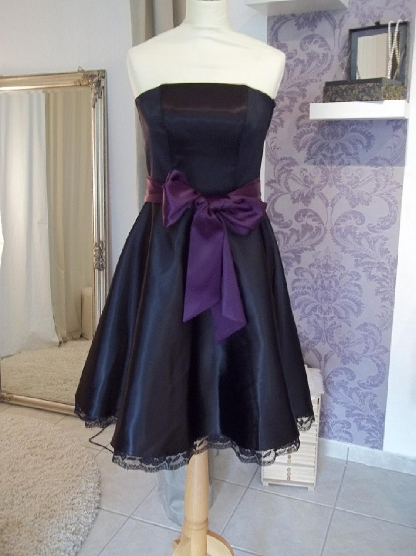 Abschlussballkleid Konfirmationskleid schwarz lila Bonita ...