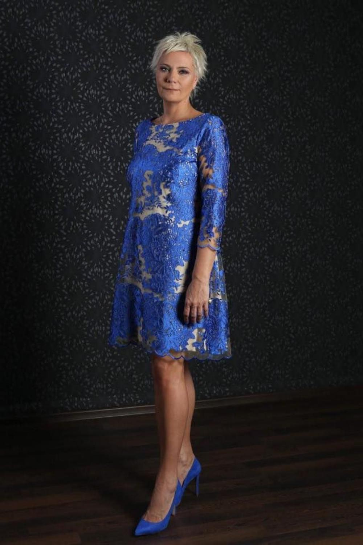 Cocktailkleid für die Brautmutter Blau creme aus Spitze ...