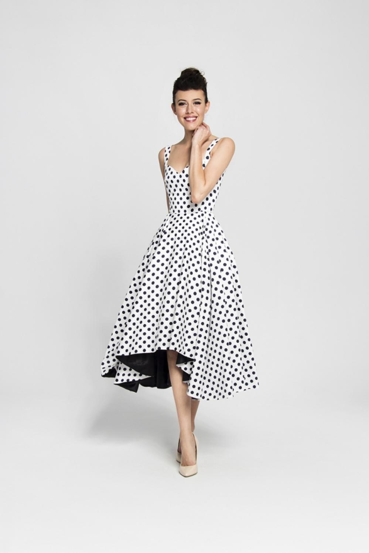 Cocktailkleid Tanzkleid weiß mit schwarzen Punkten ...