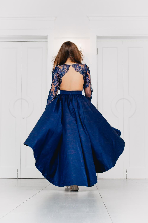 Vokuhila Kleid Hochzeitsgast Dunkelblau mit langen Ärmeln ...