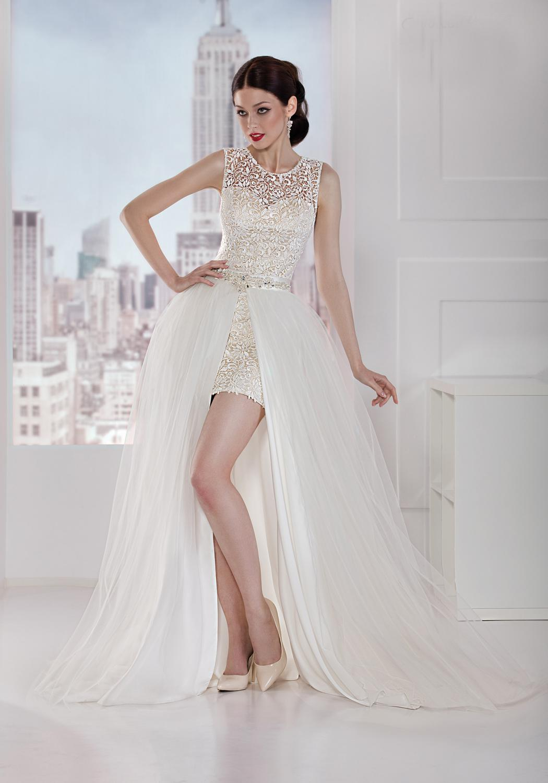 Brautkleid brautkleider creme : Kurzes Brautkleid mit abnehmbarer Schleppe - Kleiderfreuden