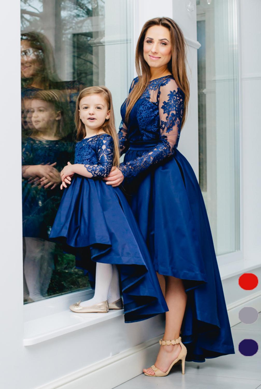 vokuhila kleid hochzeitsgast dunkelblau mit langen rmeln kleiderfreuden. Black Bedroom Furniture Sets. Home Design Ideas