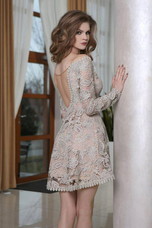 Kurzes Nude Brautkleid Standesamtkleid - Kleiderfreuden