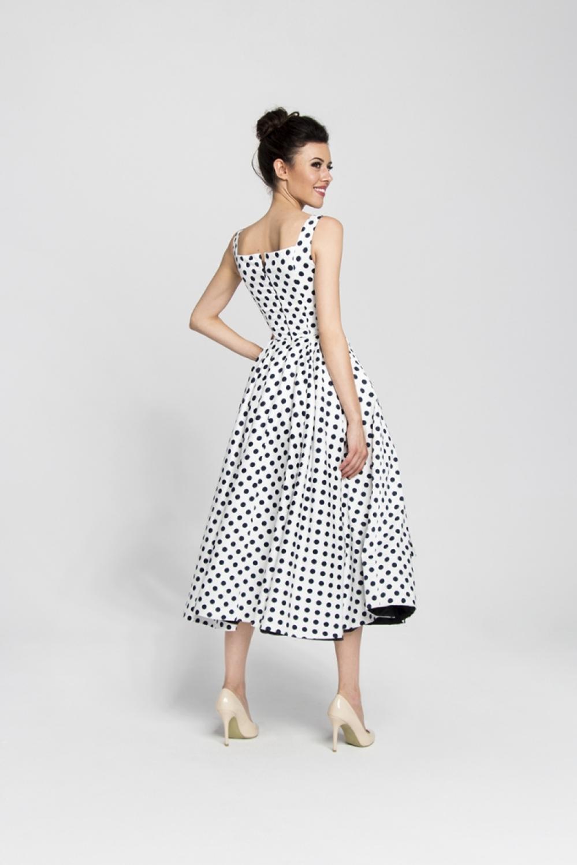 cocktailkleid tanzkleid weiß mit schwarzen punkten