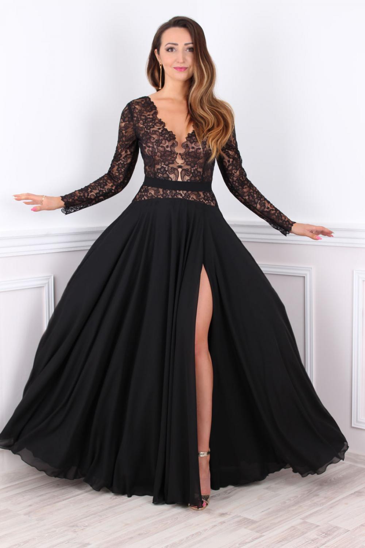 Abendkleid lang mit Ärmeln und Spitze Maßanfertigung - Kleiderfreuden