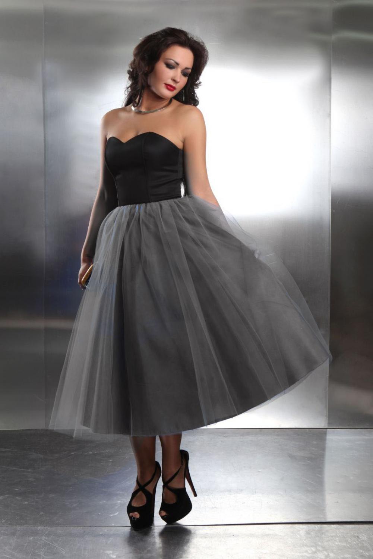 Wadenlanges Abschlussballkleid mit Tüllrock in schwarz blau  Kleiderfreuden