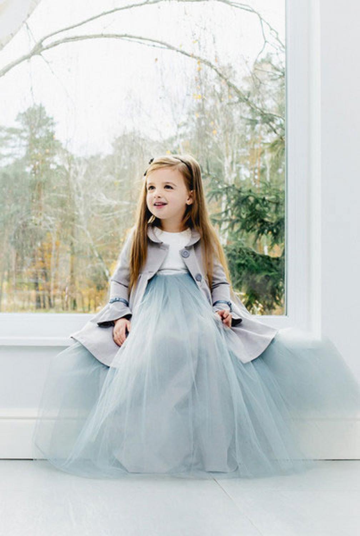 Langes Ballkleid für Mädchen mit viel Tüll - Kleiderfreuden