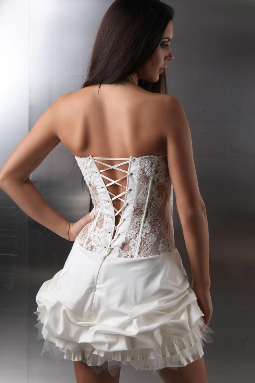 kurzes brautkleid sexy extravagant transparente korsage kleiderfreuden. Black Bedroom Furniture Sets. Home Design Ideas