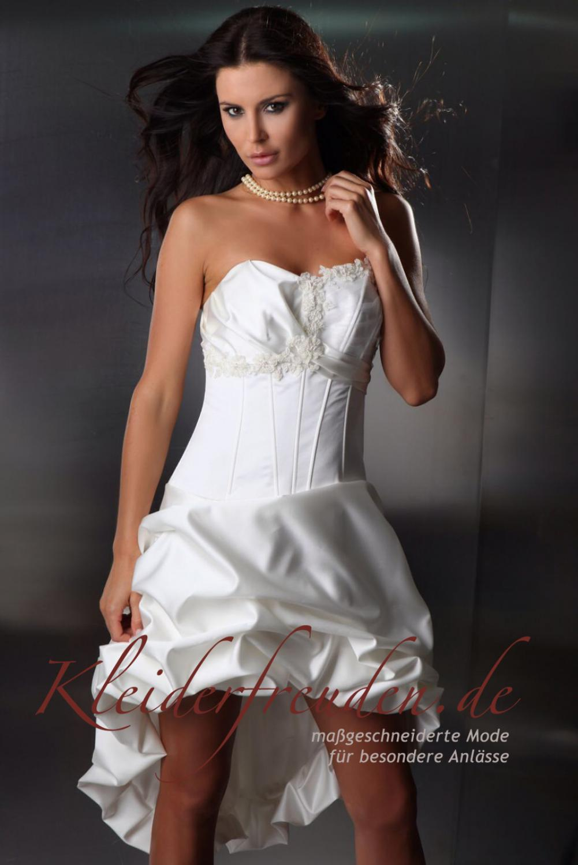 ... Brautkleid vorne kurz hinten lang aus Taft weiß und andere Farben