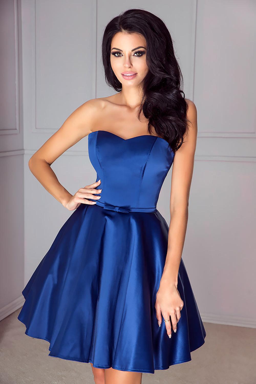satin cocktailkleid abiballkleid in blau nach maß