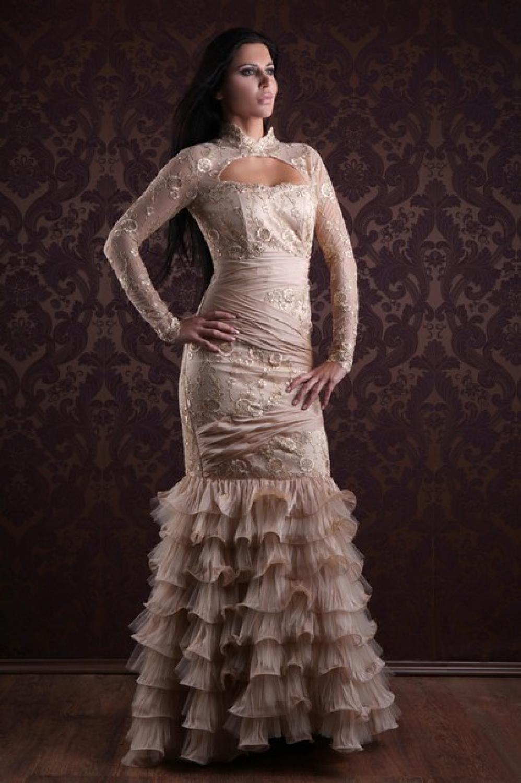Hochgeschlossenes Abendkleid Godet Gold creme - Kleiderfreuden