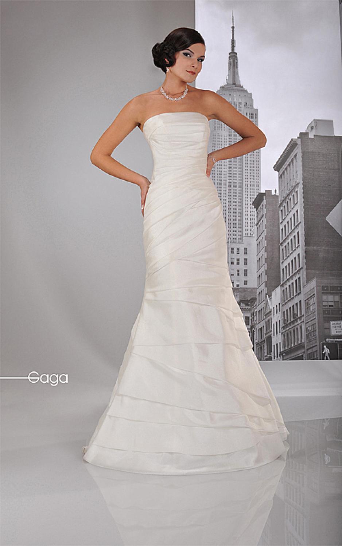 ... Brautkleider » Godet Brautkleid Hochzeitskleid drapiert schulterfrei
