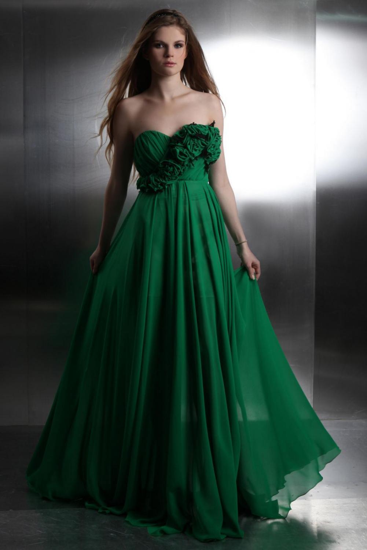 Grünes Abendkleid aus Chiffon Maßanfertigung - Kleiderfreuden