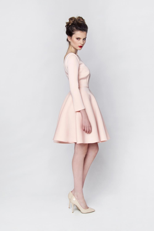 Rosa Cocktailkleid Neopren lange Ärmel Maßanfertigung - Kleiderfreuden
