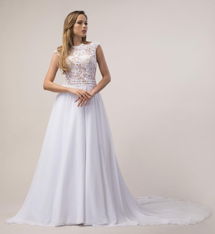Brautleid schlicht romantisch mit Schleppe - Kleiderfreuden