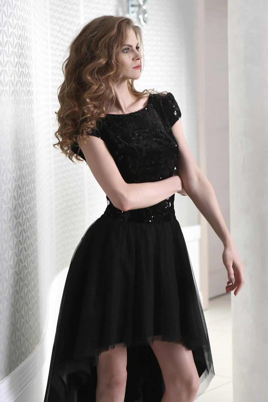 schwarzes cocktailkleid vorne kurz hinten lang mit