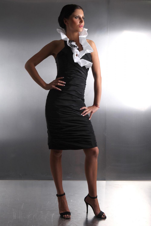 Etui Abendkleid mit Kragen Schwarz Weiß nach Maß ...